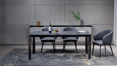 Dinning Table with Rock table Aluminum Base BK-TH004